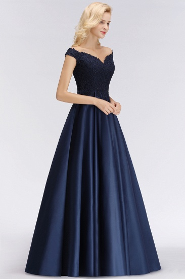 Elegant Off-the-Shoulder Ruffle Navy Lace Bridesmaid Dresses with Beads_6