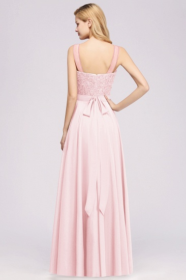 Gorgeous Lace Jewel Affordable Pink Bridesmaid Dress with Beadings_2
