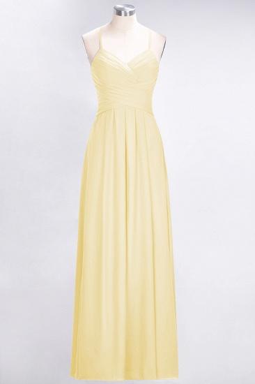 Affordable Spaghetti Straps V-Neck Burgundy Chiffon Bridesmaid Dress with Keyhole Back_18