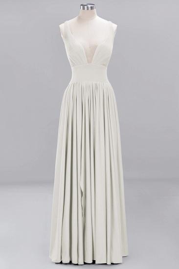 Sexy Deep V-Neck Sleeveless Bridesmaid Dress Burgundy Chiffon Wedding Party Dress_2
