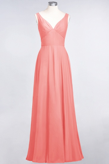 Chic Chiffon V-Neck Straps Ruffle Affordable Bridesmaid Dresses with Open Back_7