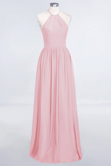 BMbridal Affordable Halter Sleeveless Long Burgundy Bridesmaid Dress with Ruffle_4