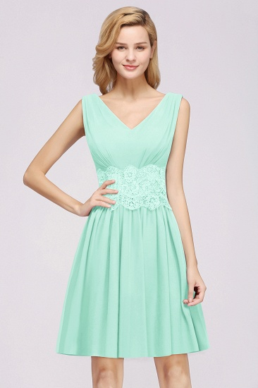 Pretty V-Neck Short Sleeveless Lace Bridesmaid Dresses Online_51