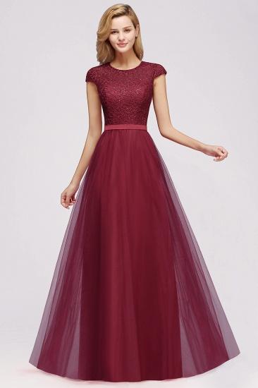 BMbridal Elegant Lace Cap-Sleeves Long Burgundy Birdesmaid Dresses Online_7