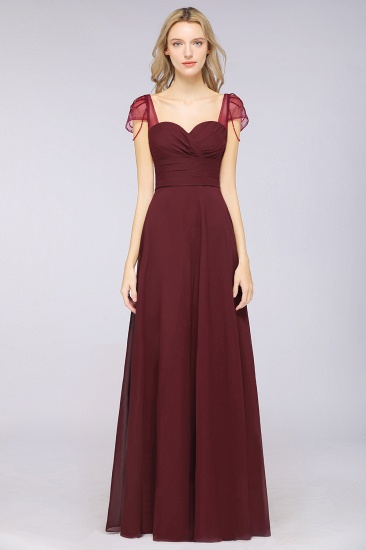 Chic Chiffon Sweetheart Cap-Sleeves Ruffle Bridesmaid Dresses with Beadings_51