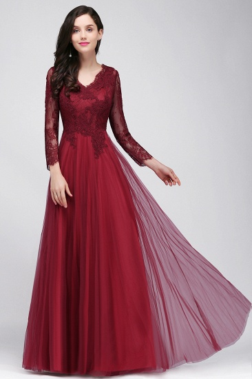 Affordable Long Sleeves V-Neck Lace Burgundy Bridesmaid Dresses with Appliques_2