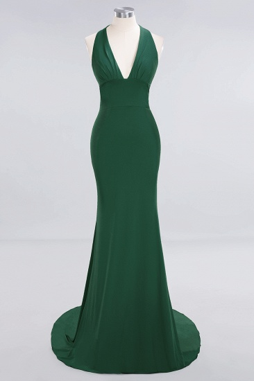 Mermaid Halter V-Neck Dark Green Chiffon Bridesmaid Dress with Open Back_27