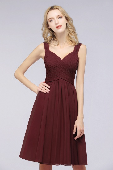 Elegant Ruffle Straps Short Burgundy Bridesmaid Dresses Online_3