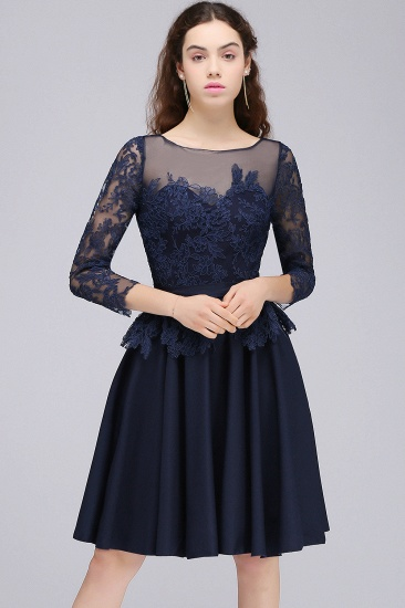 BMbridal Modest 3/4 Sleeves Short Navy Lace Bridesmaid Dresses with Appliques_1