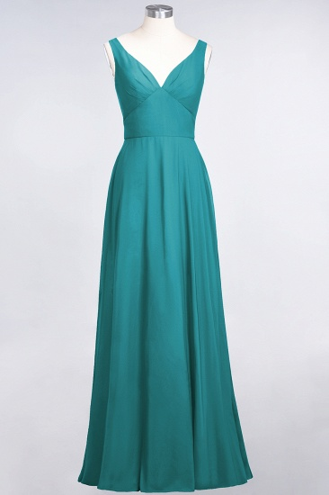 Chic Chiffon V-Neck Straps Ruffle Affordable Bridesmaid Dresses with Open Back_32