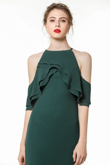 BMbridal Affordable Cold-shoulder Ruffle Dark Green Bridesmaid Dresses Online_7