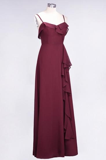 Elegant Spaghetti Straps Ruffle Burgundy Chiffon Dresses Affordable_64
