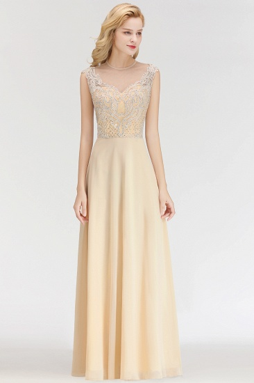 Modest Jewel Champagne Lace Bridesmaid Dresses with Beadings_4