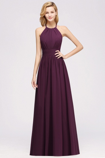 Elegant High-Neck Halter Long Affordable Bridesmaid Dresses with Ruffles_55