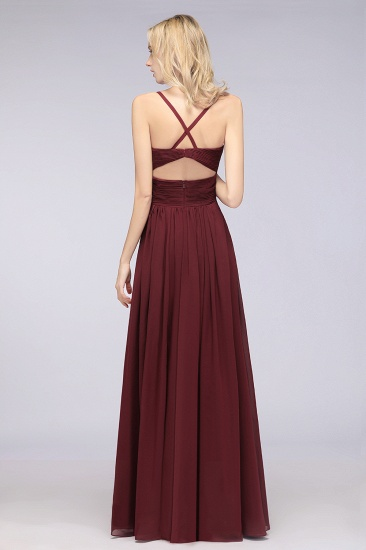 Affordable Chiffon Ruffle V-Neck Bridesmaid Dress with Spaghetti Straps_36