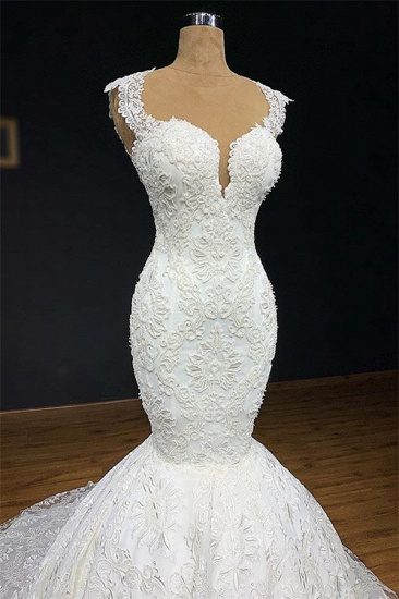 BMbridal Unique White Straps Mermaid Wedding Dresses With Appliques Tulle Ruffles Lace Bridal Gowns Online_3