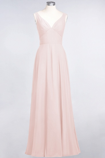 Chic Chiffon V-Neck Straps Ruffle Affordable Bridesmaid Dresses with Open Back_5