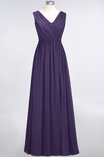 Glamorous TulleV-Neck Ruffle Burgundy Bridesmaid Dress Online_19