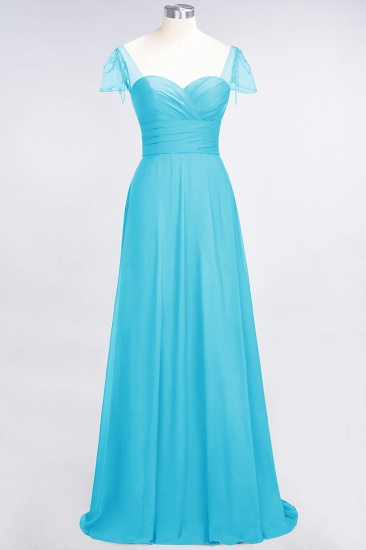 Chic Chiffon Sweetheart Cap-Sleeves Ruffle Bridesmaid Dresses with Beadings_24