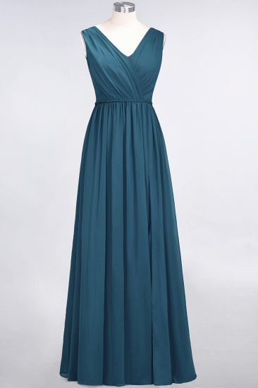 Glamorous TulleV-Neck Ruffle Burgundy Bridesmaid Dress Online_27