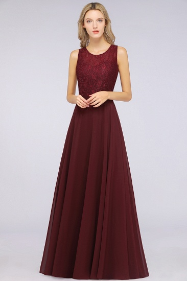 BMbridal Elegant Roud Neckline Sleeveless Burgundy Lace Bridesmaid Dress Online_1
