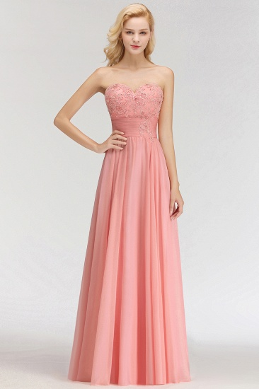 Elegant Sweetheart Ruffle Pink Bridesmaid Dresses with Appliques_4