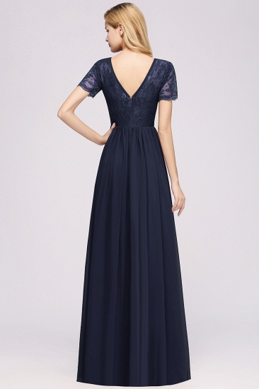 Elegant Dark Navy Long Lace Bridesmaid Dresses with Short-Sleeves_52