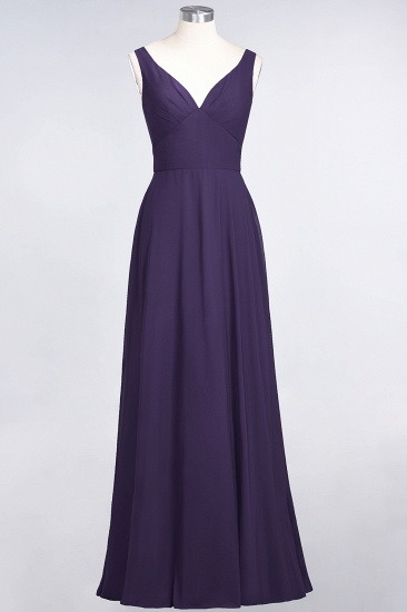 Chic Chiffon V-Neck Straps Ruffle Affordable Bridesmaid Dresses with Open Back_19