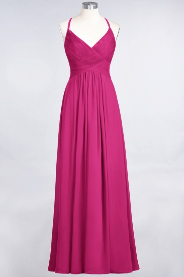 Affordable Chiffon Ruffle V-Neck Bridesmaid Dress with Spaghetti Straps_9