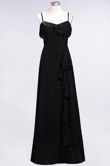 BMbridal Elegant Spaghetti Straps Ruffle Burgundy Chiffon Dresses Affordable_29