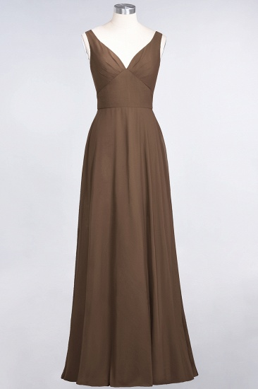 Chic Chiffon V-Neck Straps Ruffle Affordable Bridesmaid Dresses with Open Back_12