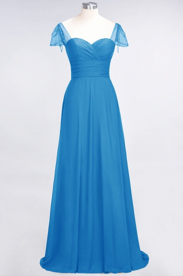 Chic Chiffon Sweetheart Cap-Sleeves Ruffle Bridesmaid Dresses with Beadings_25