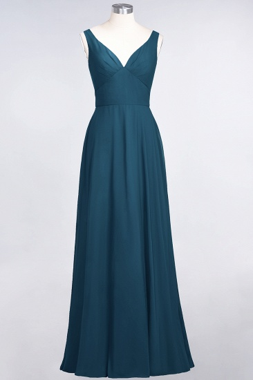 Chic Chiffon V-Neck Straps Ruffle Affordable Bridesmaid Dresses with Open Back_27