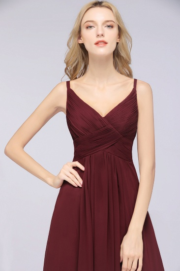 Affordable Chiffon Ruffle V-Neck Bridesmaid Dress with Spaghetti Straps_39