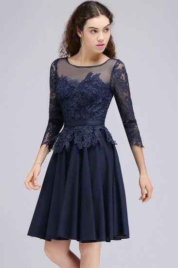 BMbridal Modest 3/4 Sleeves Short Navy Lace Bridesmaid Dresses with Appliques_6