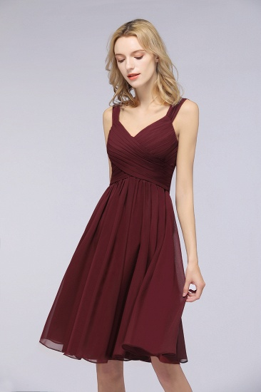Elegant Ruffle Straps Short Burgundy Bridesmaid Dresses Online_4