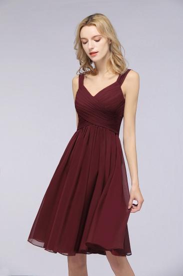 BMbridal Elegant Ruffle Straps Short Burgundy Bridesmaid Dresses Online_4
