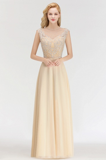 Modest Jewel Champagne Lace Bridesmaid Dresses with Beadings_1
