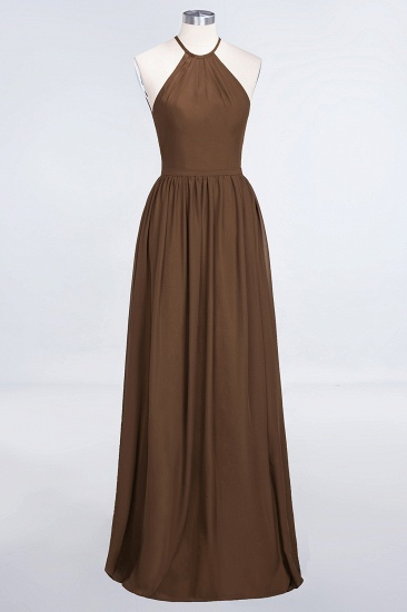 Affordable Halter Sleeveless Long Burgundy Bridesmaid Dress with Ruffle_12