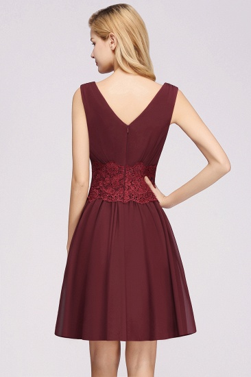 Pretty V-Neck Short Sleeveless Lace Bridesmaid Dresses Online_57
