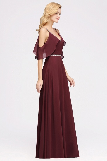 Burgundy Cold-shoulder Long Bridesmaid Dress With Half Sleeve_4