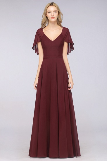 Chic Satin V-Neck Long Burgundy Chiffon Bridesmaid Dress with Flutter Sleeve_10