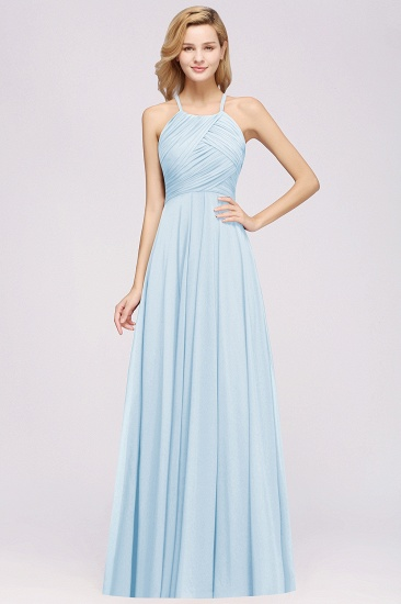 BMbridal Halter Crisscross Pleated Bridesmaid Dress Blue Chiffon Sleeveless Maid of Honor Dress_23