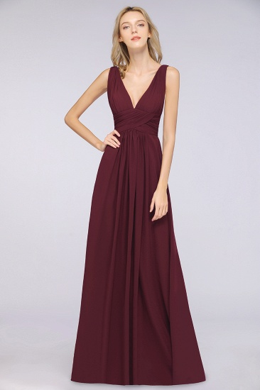 Elegant V-Neck Burgundy Chiffon Cheap Bridesmaid Dress with Ruffle_10