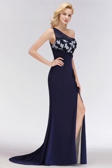 Simple Mermaid One-Shoulder Navy Bridesmaid Dresses with Slit_7