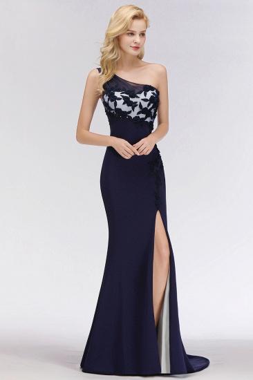 Simple Mermaid One-Shoulder Navy Bridesmaid Dresses with Slit_5