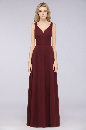 Chic Chiffon V-Neck Straps Ruffle Affordable Bridesmaid Dresses with Open Back_10