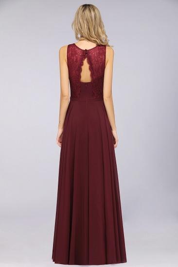 BMbridal Elegant Roud Neckline Sleeveless Burgundy Lace Bridesmaid Dress Online_3