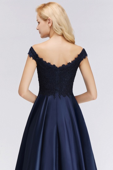 Elegant Off-the-Shoulder Ruffle Navy Lace Bridesmaid Dresses with Beads_5