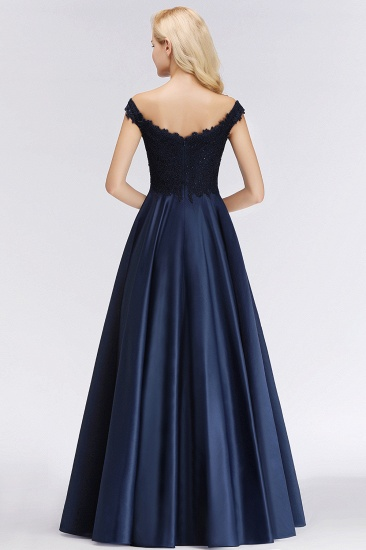 Elegant Off-the-Shoulder Ruffle Navy Lace Bridesmaid Dresses with Beads_3